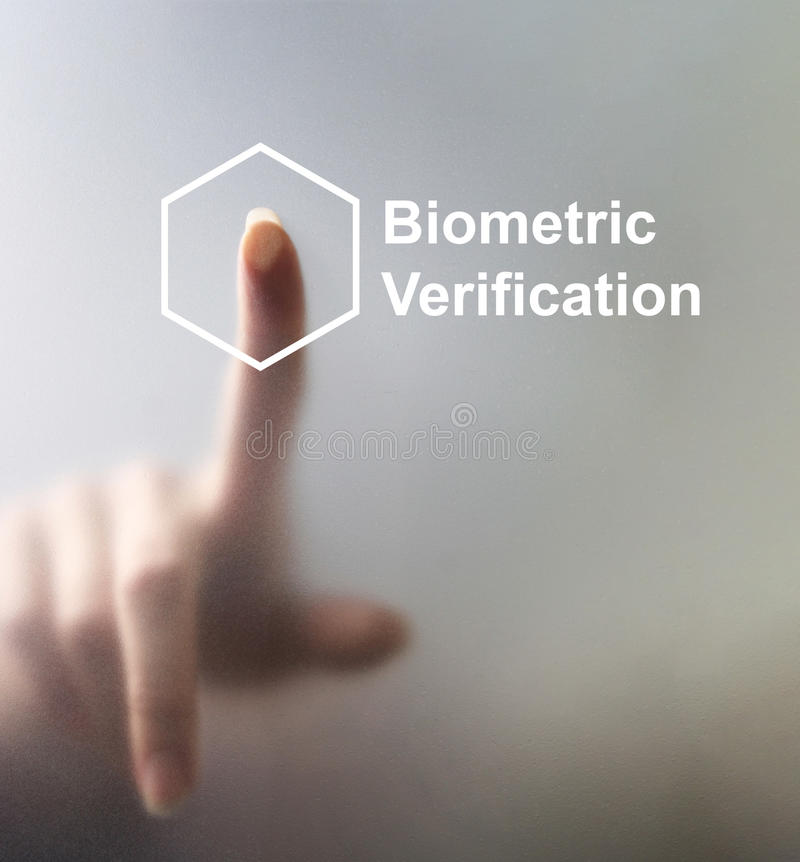 Låsa upp avläser apparater med fingeravtrycket genom att använda biometricssecurit royaltyfri fotografi