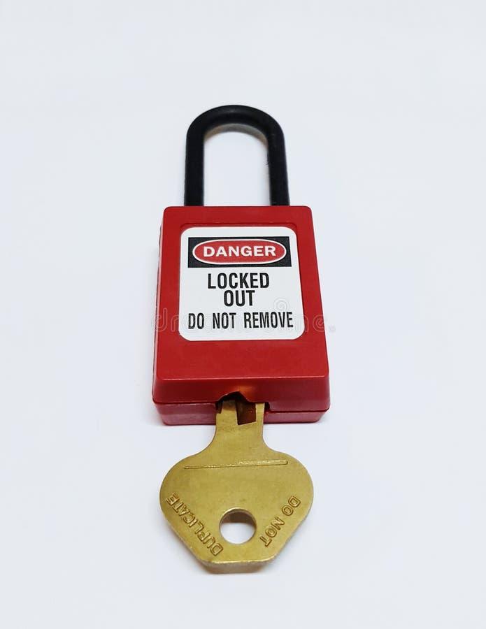 Låsa ut & märka ut, lockoutstationen, maskinen - specifika lockoutapparater arkivfoto