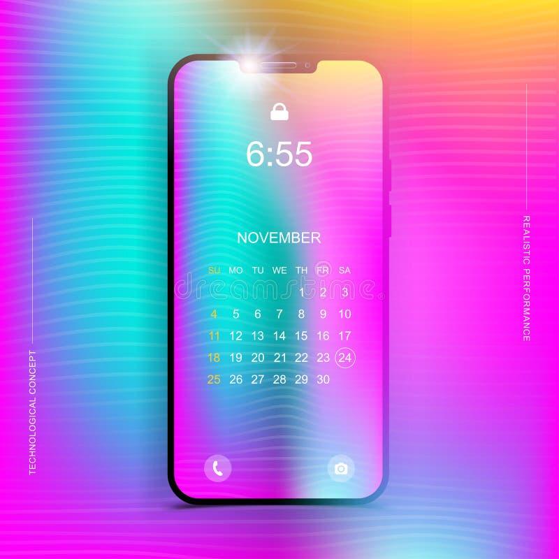 Låser den realistiska smartphonen för mallen i ett vertikalt format med en lutning och skärmen på en färgbakgrund Telefon med vektor illustrationer