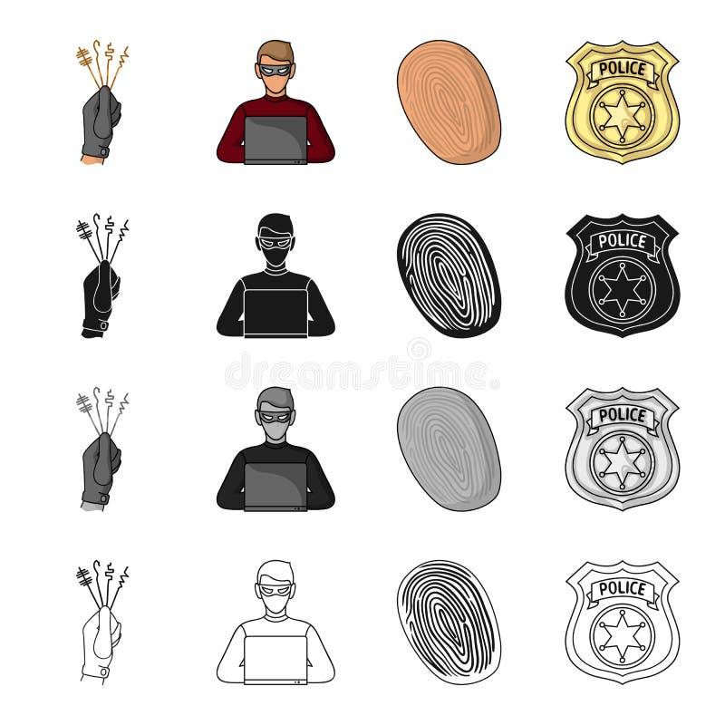 Låset väljer i handen, den brottsliga en hacker, fingeravtrycket, polisen förser med märke Svärtar fastställda samlingssymboler f stock illustrationer