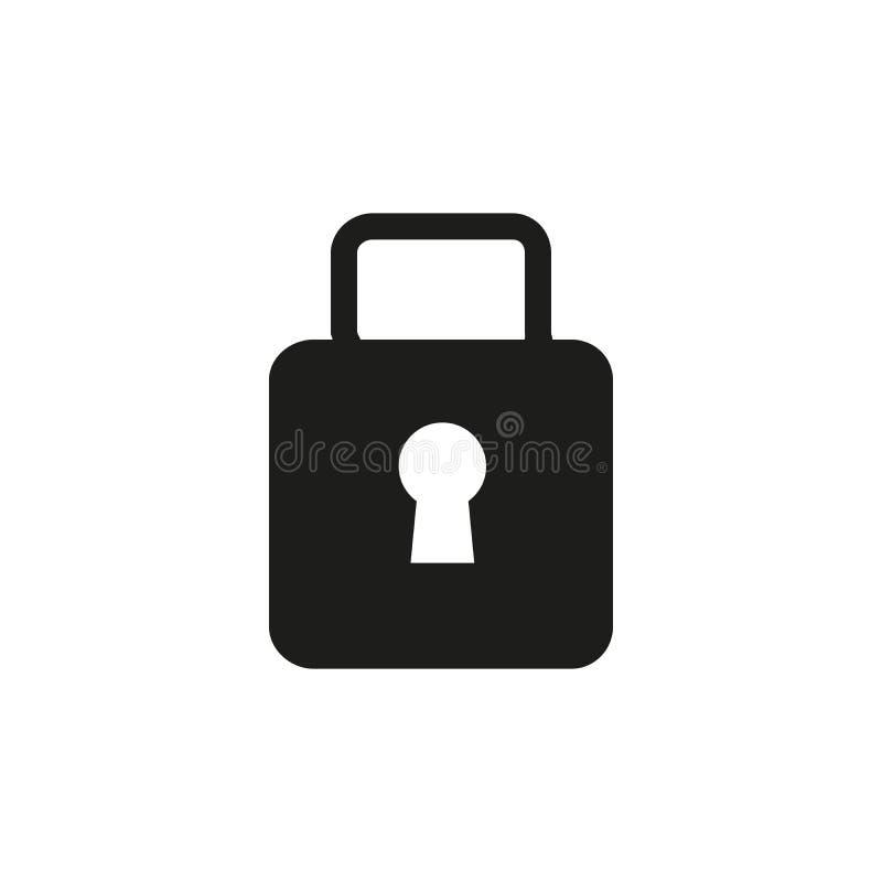 Låssymbol i moderiktig plan stil som isoleras på grå bakgrund Säkerhetssymbol för din webbplatsdesign, logo, app, UI stock illustrationer