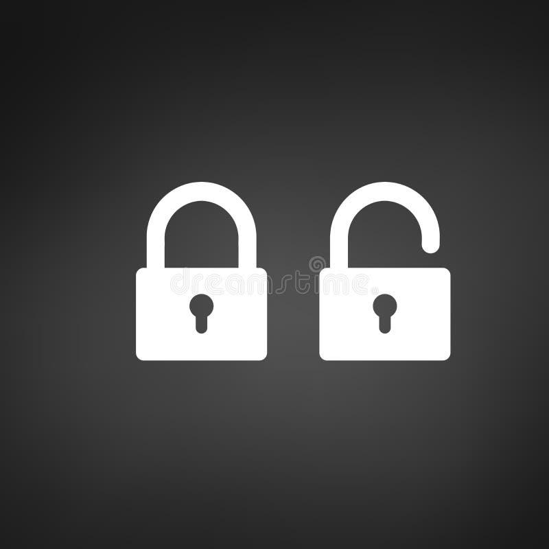 Låssymbol i moderiktig plan stil som isoleras på svart bakgrund Säkerhetssymbol för din webbplatsdesign, logo, app, UI, stock illustrationer