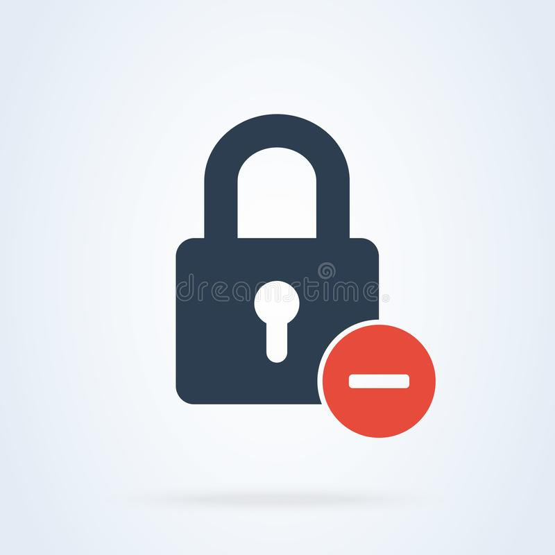 Låssymbolsborttagnings negativ tecken vektor för systemlösenordannullering royaltyfri illustrationer