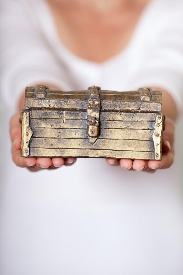 låst antik bröstkorg arkivbild