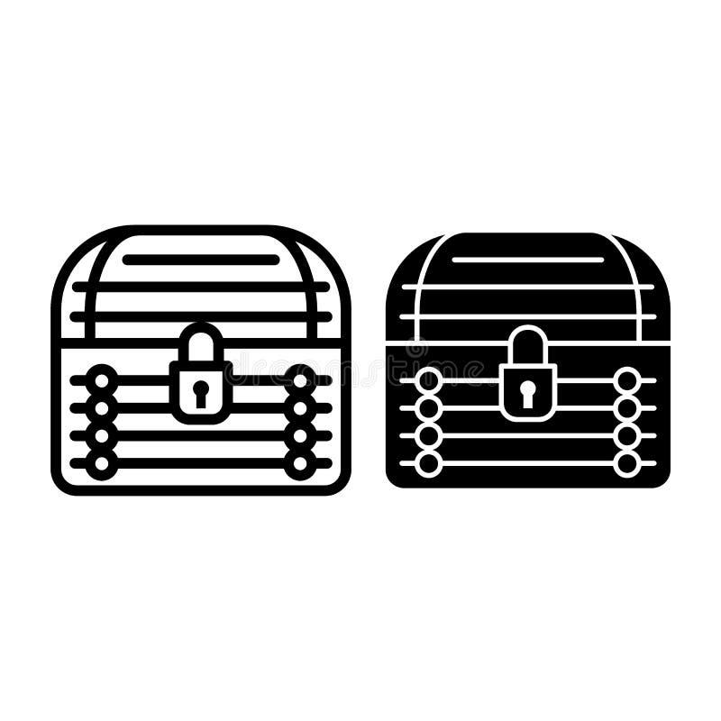 Låst bröstkorglinje och skårasymbol Illustration för vektor för skattbröstkorg som isoleras på vit Stängd stamöversiktsstil stock illustrationer
