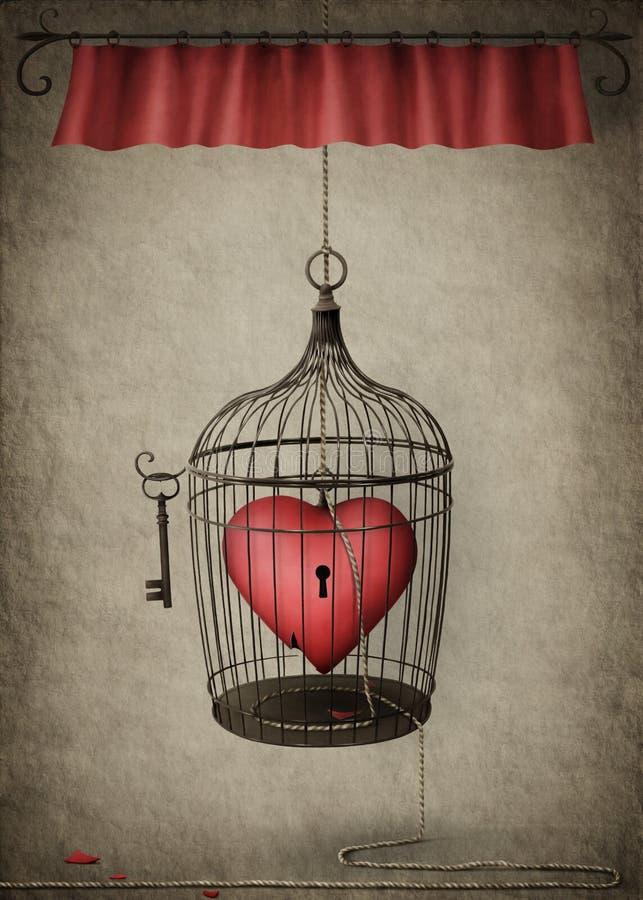 låst hjärta stock illustrationer