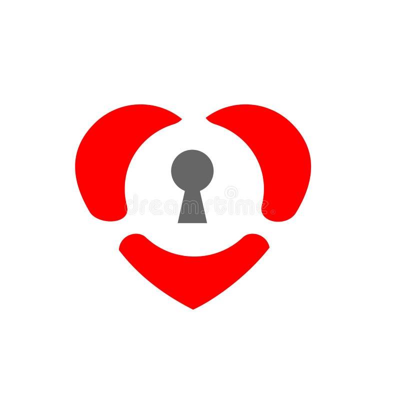 Låst hjärta, förälskelsesymbol och nyckelhåltecken, vektor Logo Design stock illustrationer