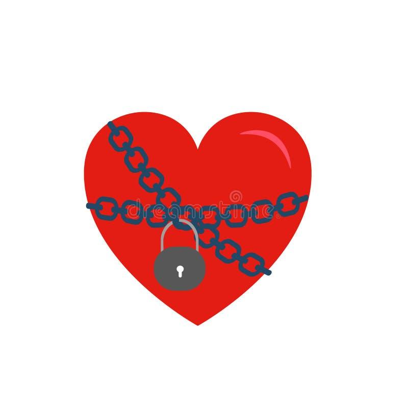 Låst hjärta som slås in i kedjor, vektorillustration som isoleras på vit backround vektor illustrationer