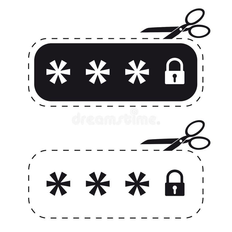 Låst lösenordfält - klippt ut klistermärke med Scissor - vektorsymbolsillustration - som isoleras på vit royaltyfri illustrationer