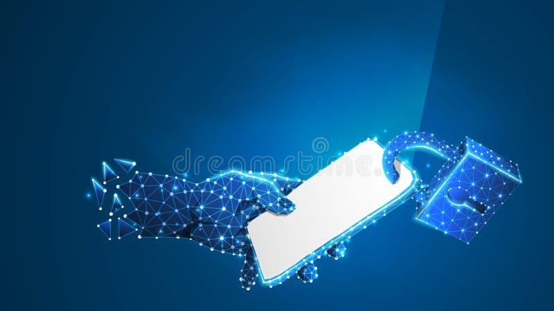Låst telefon i en hand Mobilt skydd, begrepp för grejsäkerhetsteknologi Abstrakt digitalt, wireframe, l?gt poly ingrepp, stock illustrationer