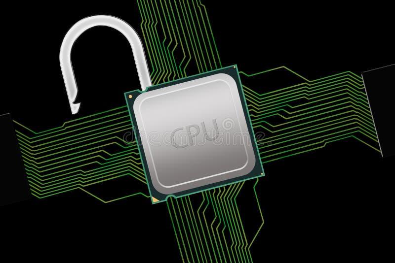 Låst upp CPU med strömkretsanslutningar arkivfoton
