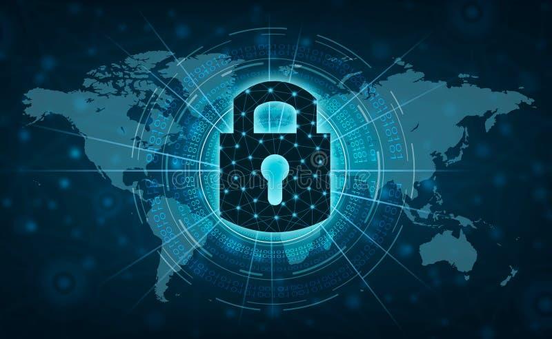 Låst upp låsinternetpress som meddelar i internet Nätverk för skydd för hand för Cybersäkerhetsbegrepp med låssymbolen och vir royaltyfri illustrationer