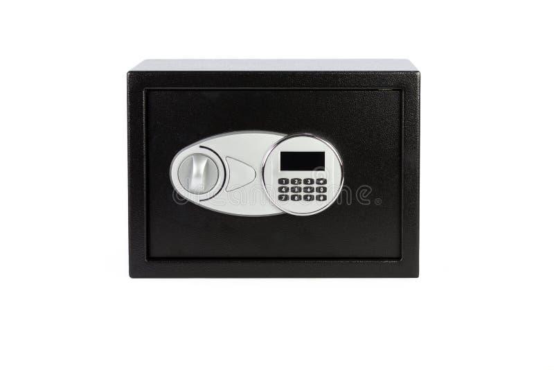 Låste den säkra asken för svart metall med det numeriska tangentbordet systemet arkivfoton