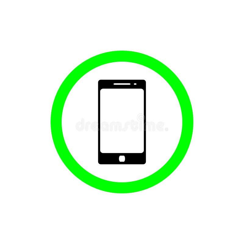 Låt att använda den smarta symbolen för lägenheten för telefonteckenvektorn tala och kalla symbolsillustrationen stock illustrationer