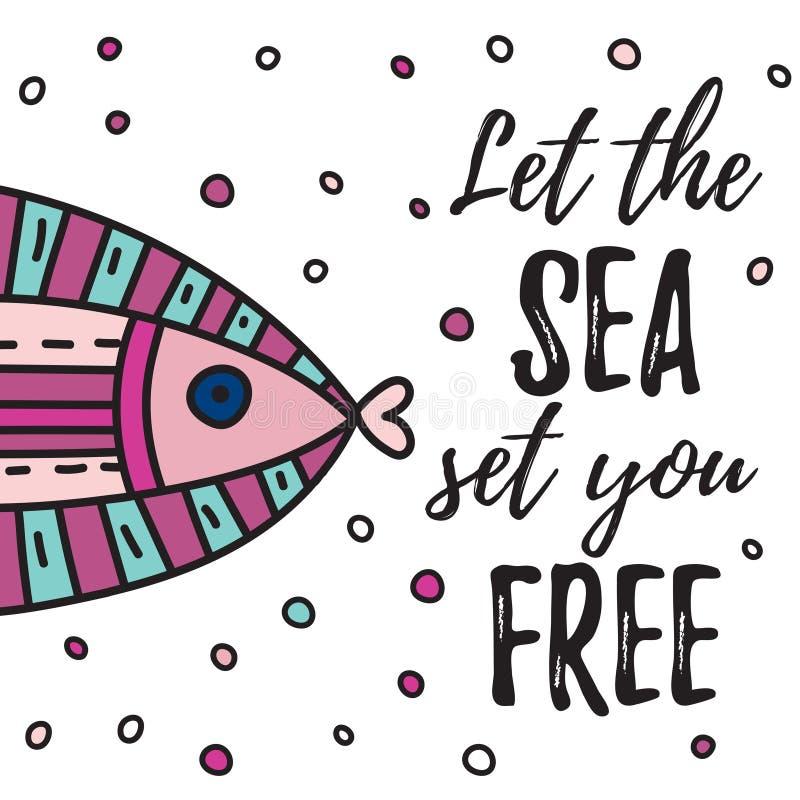 Låt havsuppsättningen dig fritt vektor illustrationer