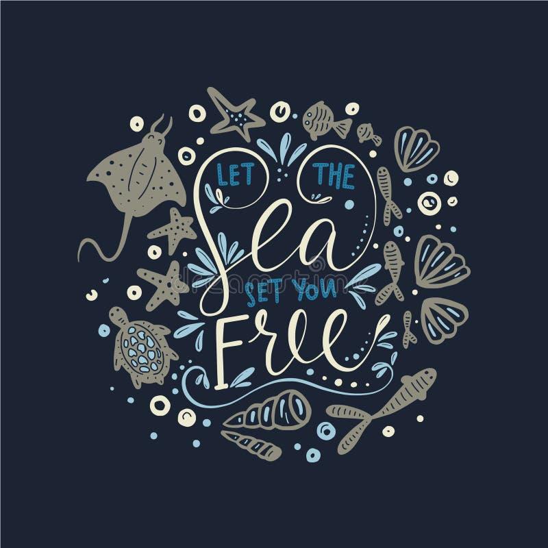 Låt havsuppsättningen dig fritt Vektorbokstäverkort royaltyfri illustrationer