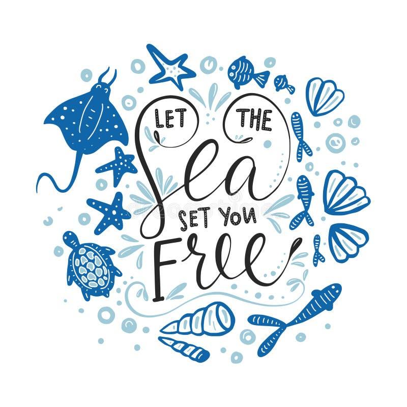 Låt havsuppsättningen dig fritt Vektorbokstäverkort stock illustrationer