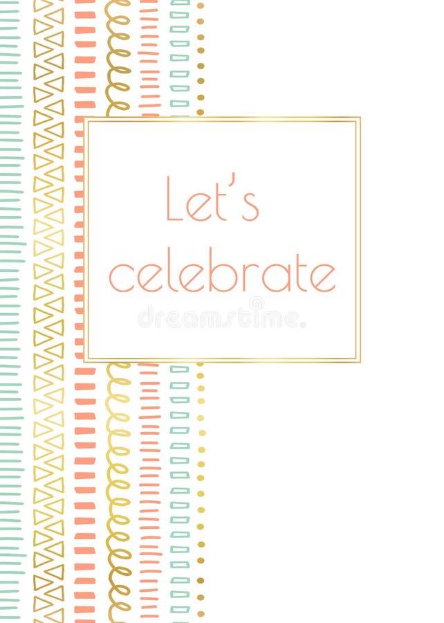 Låt oss fira vektorn för inbjudanklotterkortet vektor illustrationer