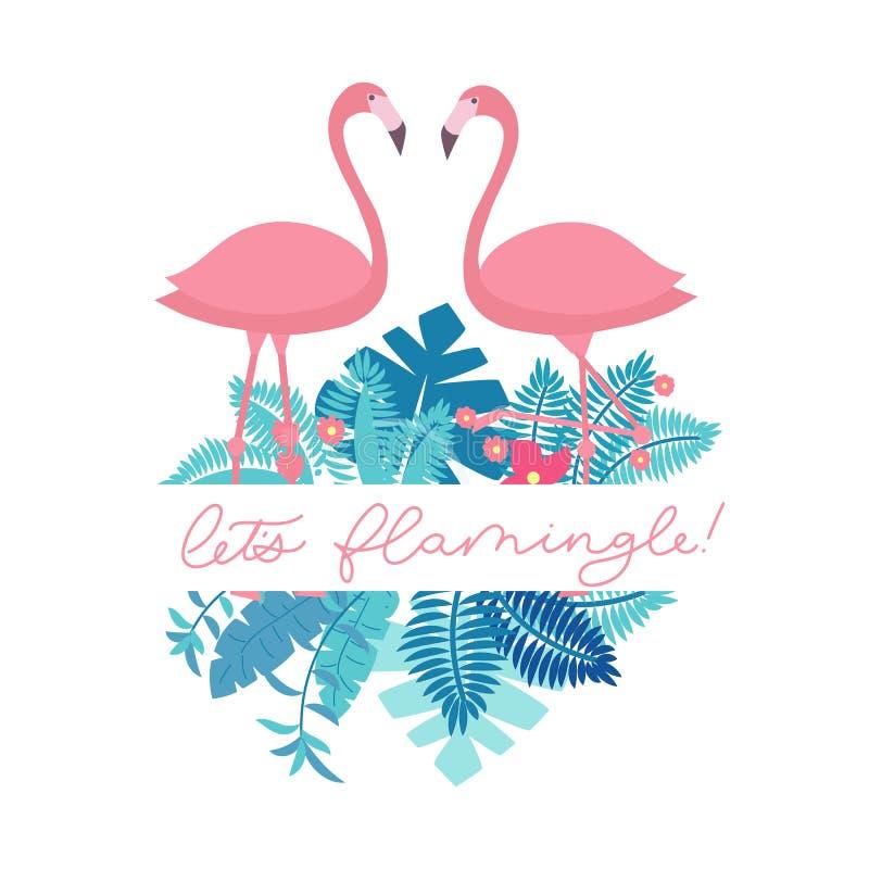 Låt oss flamingle som märker inskriften för parti- eller hälsningkort royaltyfri illustrationer