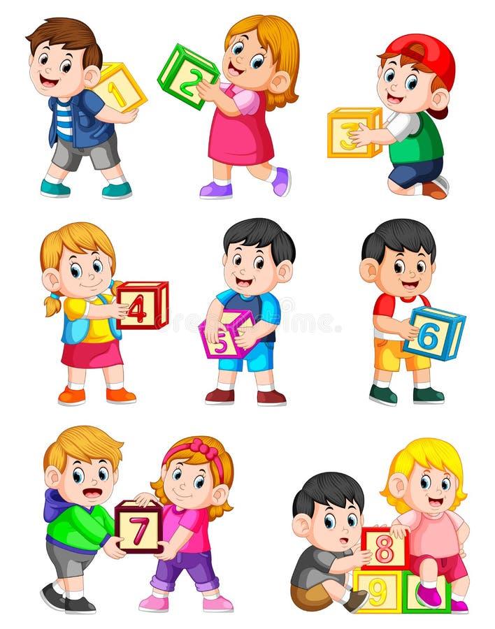 Låt oss räkna till tio med ungar som rymmer asken royaltyfri illustrationer