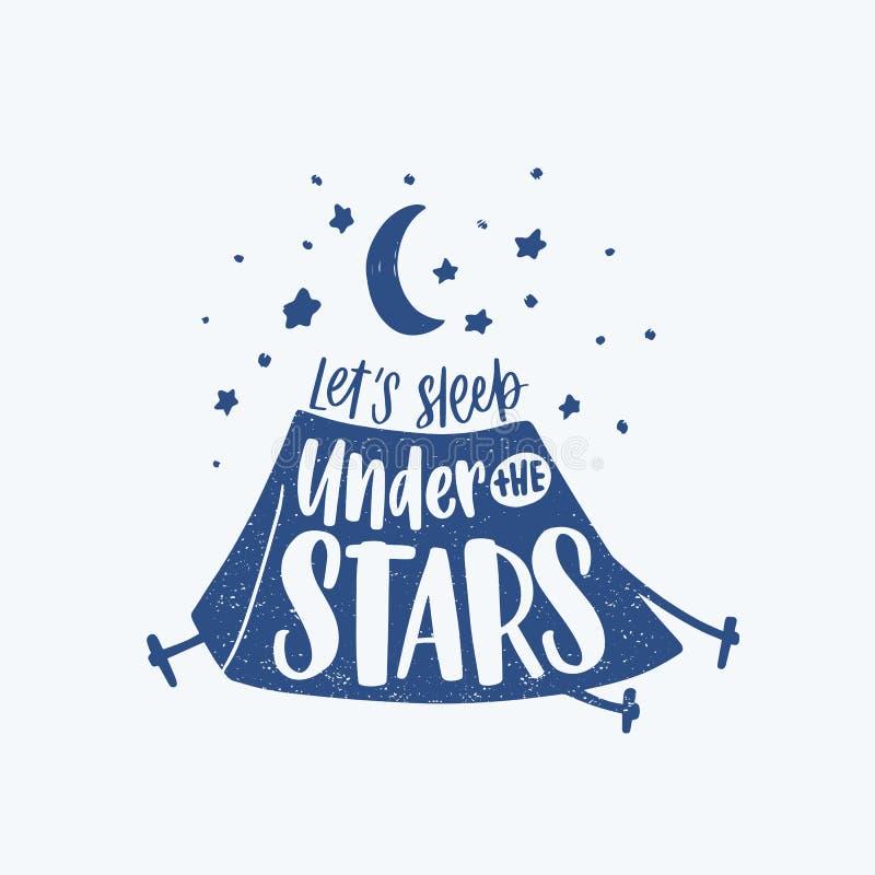 Låt oss sova under det motivational uttrycket, slogan eller texten för stjärnor som är handskrivna med den kursiva calligraphic s vektor illustrationer
