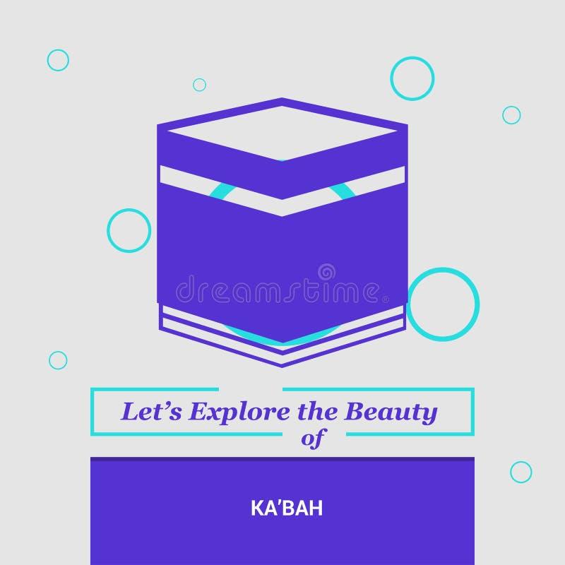 Låt oss undersöka skönheten av den Ka'bah Mecka, Saudia nationella Arabien stock illustrationer