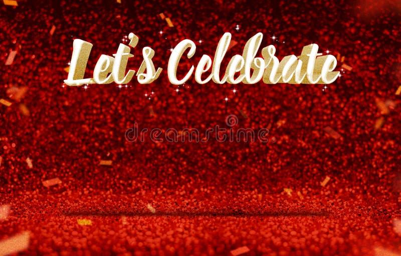 Låt ` s fira guld- glitz för tolkning 3d på den röda brunnsorten för perspektivet vektor illustrationer