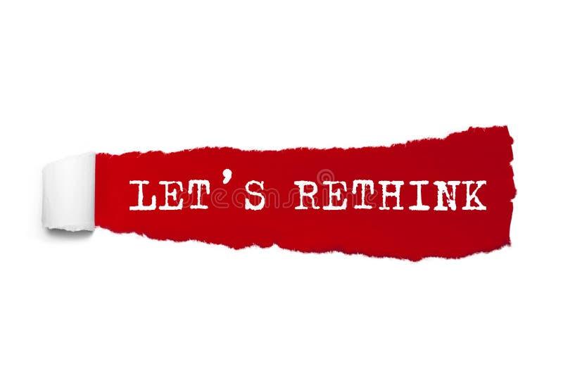 LÅT S OMPRÖVA ordet som är skriftligt under det krullade stycket av rött sönderrivet papper royaltyfri fotografi
