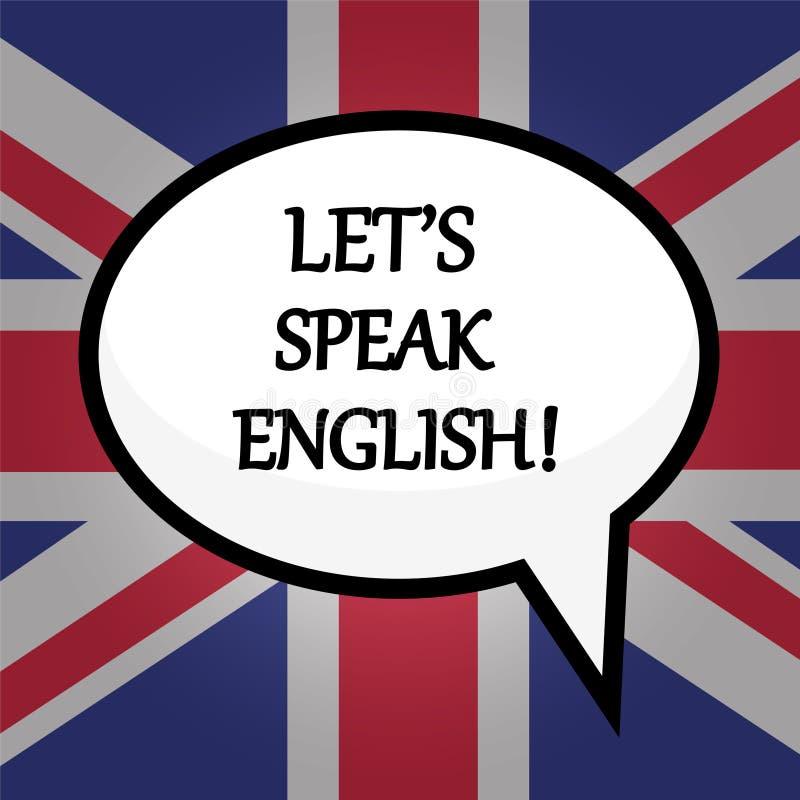 Låt ` s tala engelska! utbildningsbegrepp över den brittiska flaggan, materiel vektor illustrationer