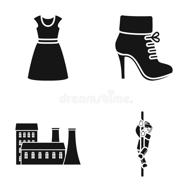 Låta småkoka, yrke, textiler och annan rengöringsduksymbol i svart stil brandman man, rep, symboler i uppsättningsamling royaltyfri illustrationer