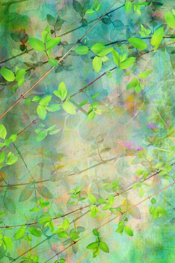 låter vara härlig grön grunge för bakgrund naturligt stock illustrationer