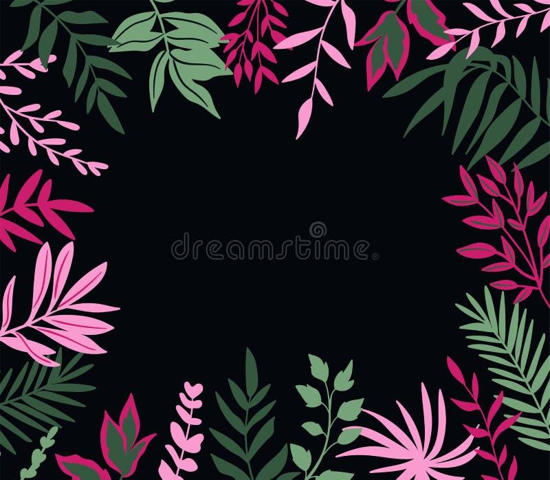låter vara tropiskt Vektorram i scandinavian stil bakgrund tecknad hand Affisch med stället för text vektor illustrationer