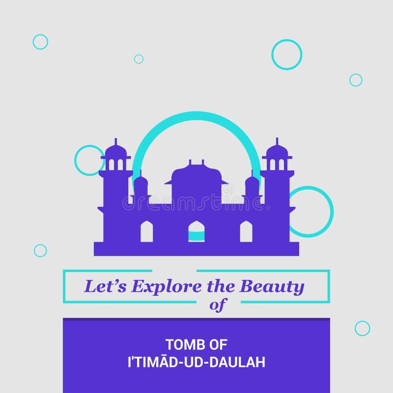 Låtet \ 's undersök skönheten av gravvalvet av Itimad-ud-Daulah Agra, Indien vektor illustrationer