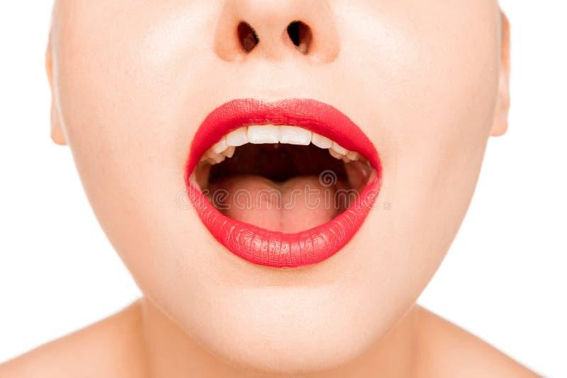 Lèvre rouge sexy r photographie stock libre de droits