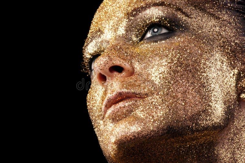 Lèvres classiques d'or de mode images libres de droits