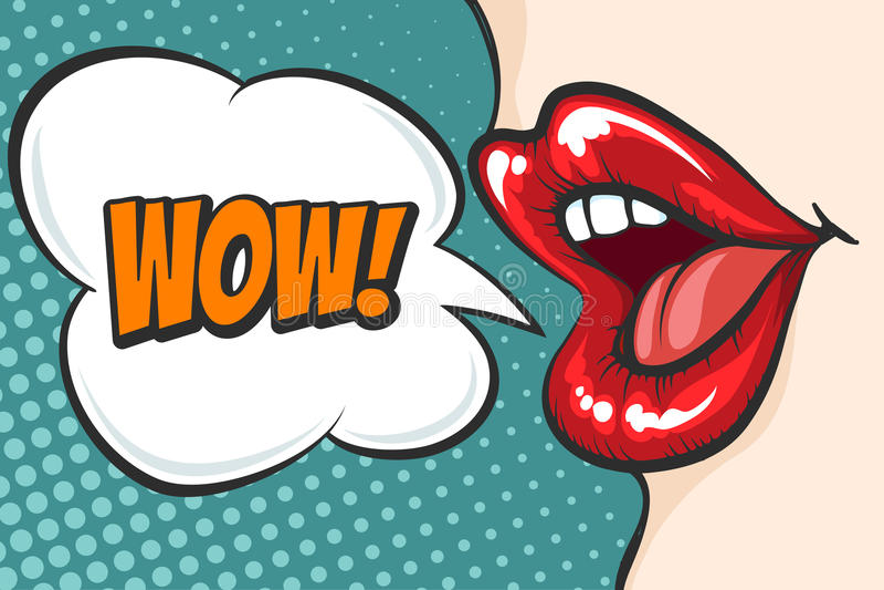 Lèvres d'art de bruit avec la bulle de wow illustration stock