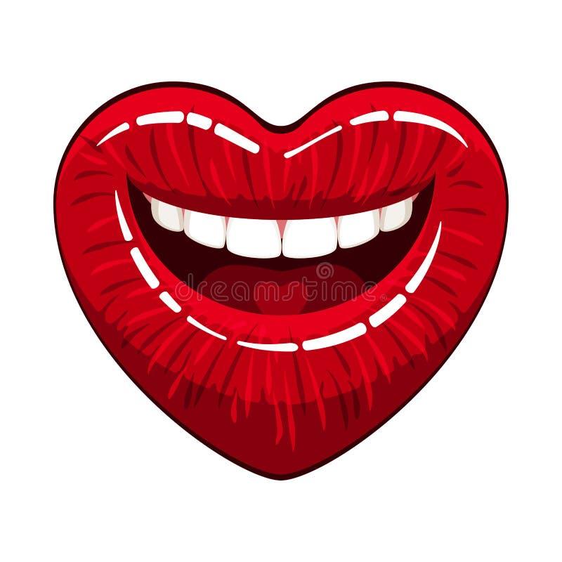 Lèvres de forme de coeur illustration libre de droits