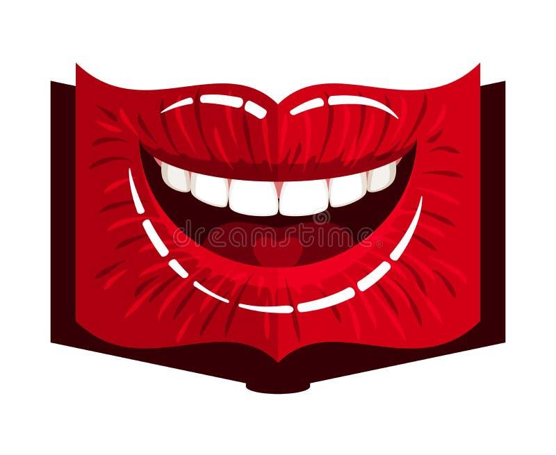 Lèvres de forme de livre illustration stock