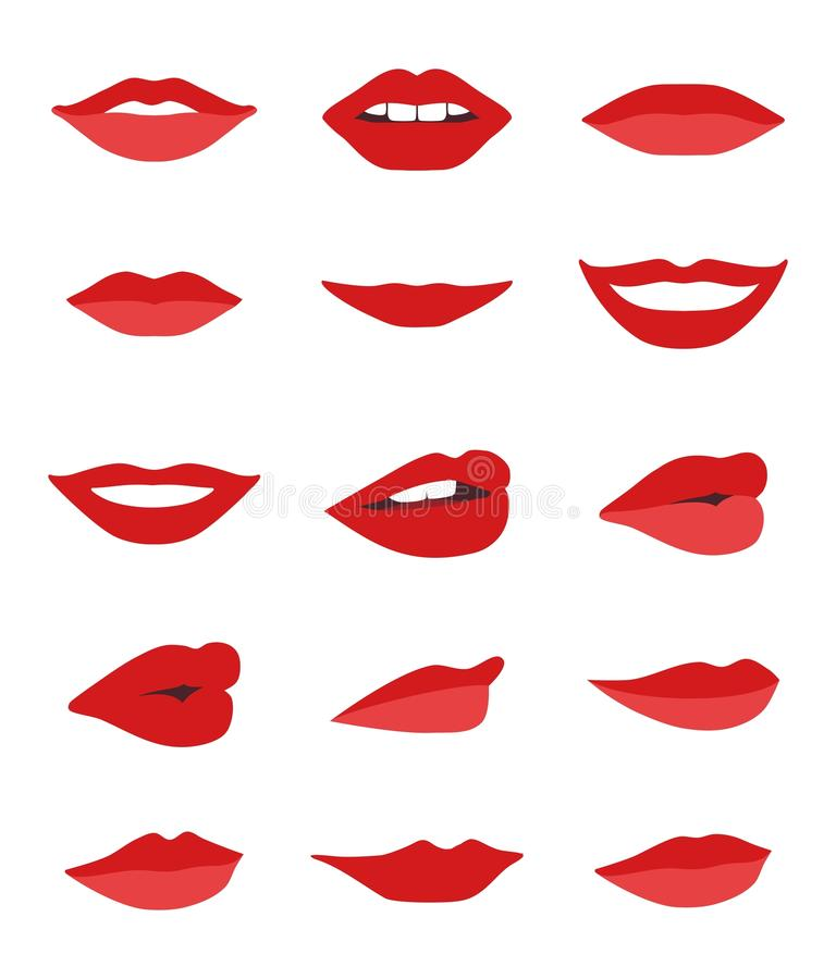 Lèvres et ensemble de vecteur de bouche