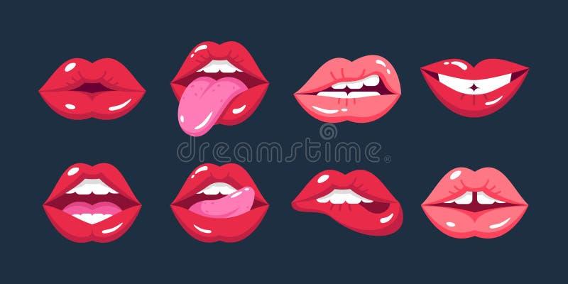 Lèvres femelles peintes, dans le style de bande dessinée, dans différentes émotions, expressions illustration stock