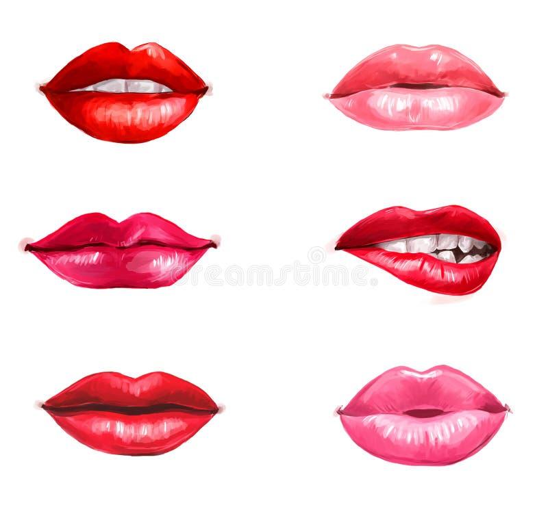 Lèvres réglées d'isolement sur le fond blanc Élément de conception Languettes rouges Fond de lèvres Publicité de rouge à lèvres L photographie stock libre de droits