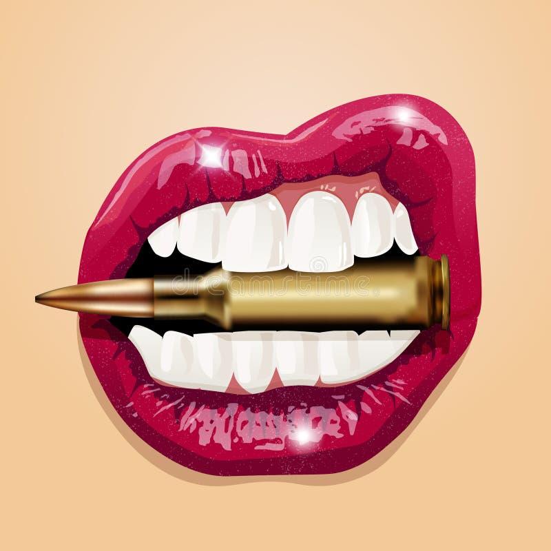 Lèvres roses de femmes avec la balle Vecteur illustration stock