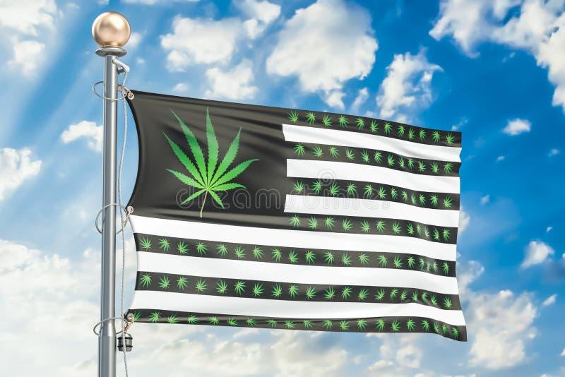 Légalisation de cannabis dans le concept des USA Les Etats-Unis diminuent avec la marijuana illustration stock