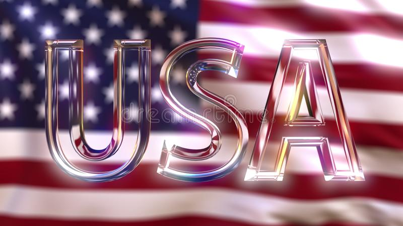 Légende en verre tournante des Etats-Unis contre onduler le drapeau américain rendu 3d photo libre de droits