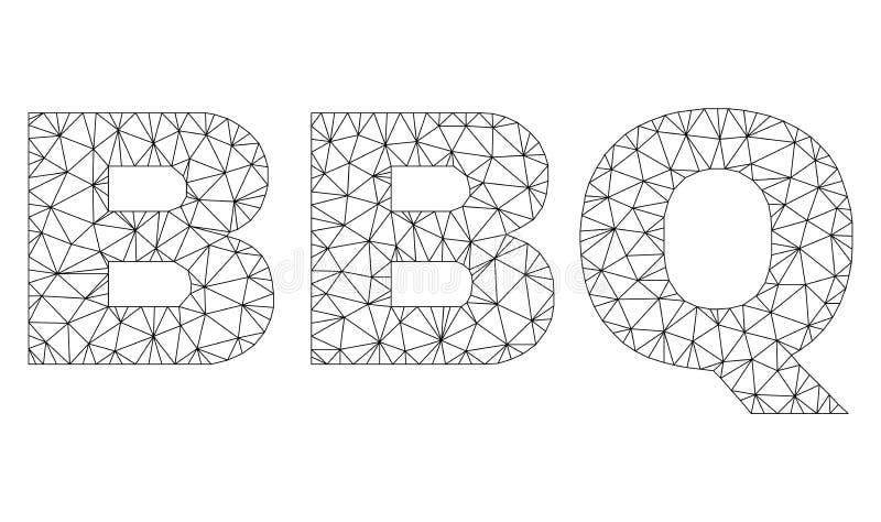 L?gende polygonale des textes de BBQ de maille illustration stock