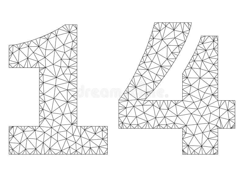 Légende polygonale des textes de la maille 14 illustration libre de droits
