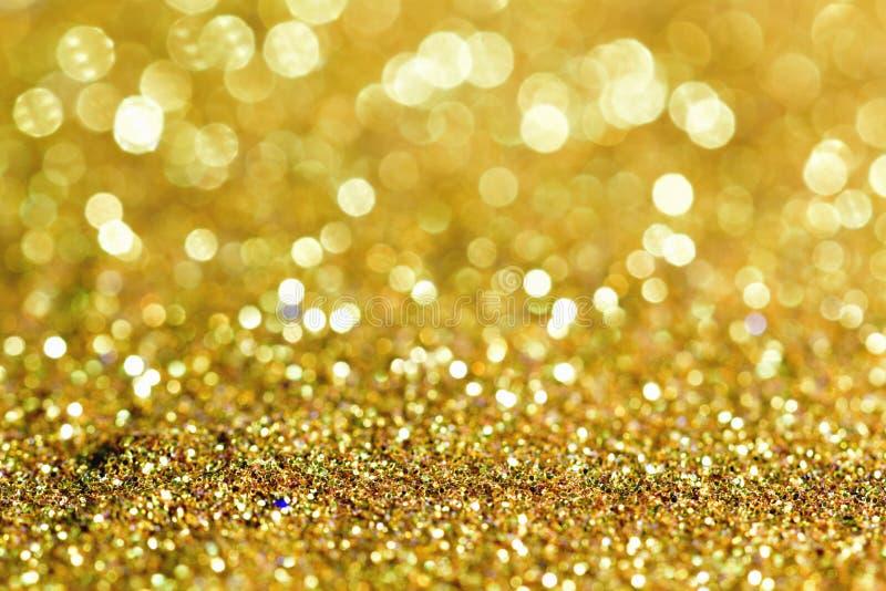 Or léger d'or abstrait de fond de Bokeh image stock