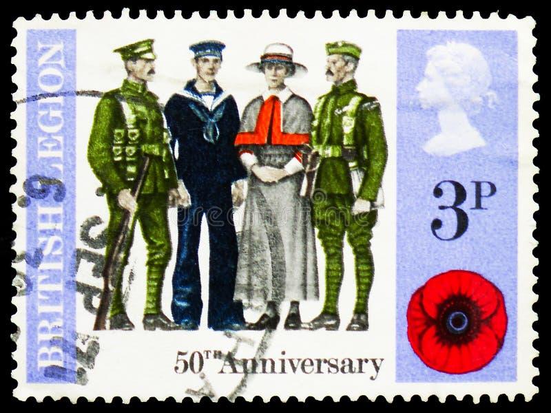 Légion britannique - soldats et infirmière de 1921, serie 1971 d'anniversaires, vers 1971 image libre de droits