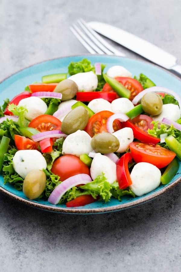 légume frais de tomate de salade de préparation de laitue de concombre Caprese salade caprese Salade italienne Salade méditerrané photos stock