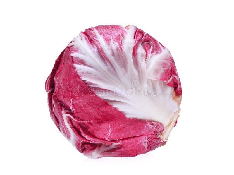 Légume organique de radicchio rouge de salade d'isolement sur le blanc photographie stock libre de droits
